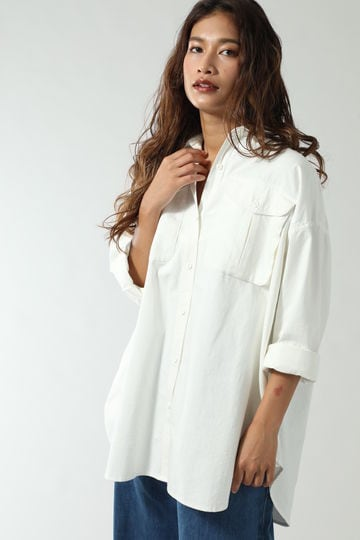 2WAY COTTON HERRINGBONE BIG SHIRTS JACKET