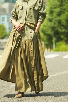 MILITARY SIDE BUTTON LONG SKIRT