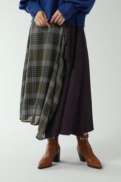 柄切り替えアシメトリースカート