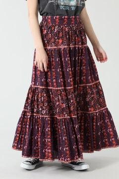 ブロックプリントティアードスカート