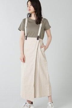 サスペンダー付ラップジャンパースカート