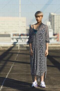 レーヨンジョーゼットフラワーミックスシャツドレス