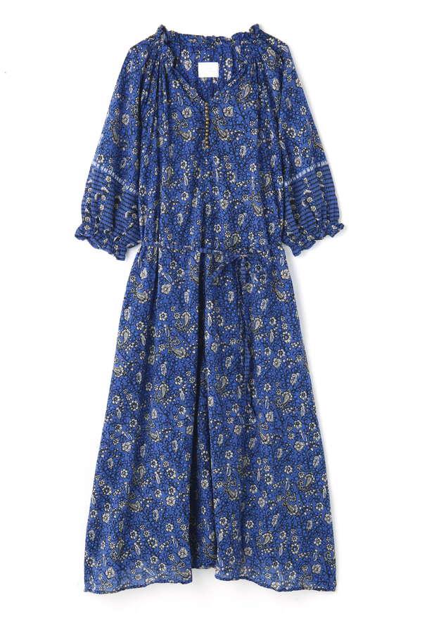ブロックプリントスモックドレス