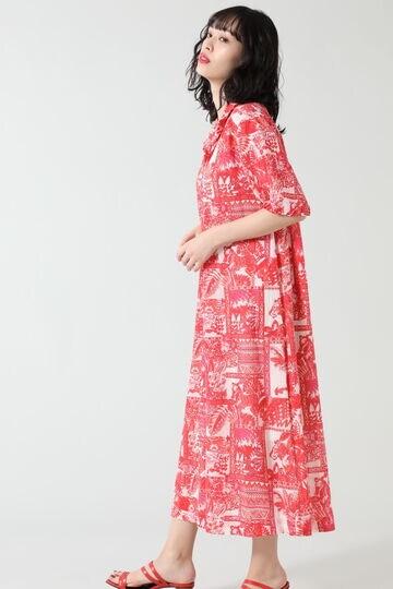 リーフアニマルプリントフリルシャツドレス
