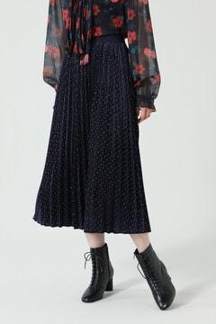 ドット×プリーツスカート