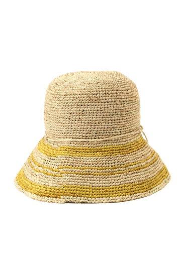 ライン入り麦わら帽子