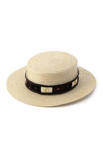 ミラー刺しゅうリボンカンカン帽