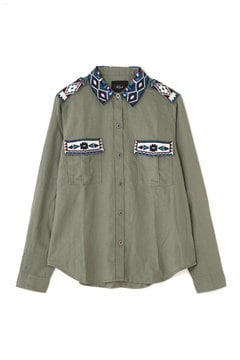 RAILS 刺繍ミリタリーシャツ