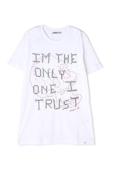 グラフィックスカル刺繍Tシャツ