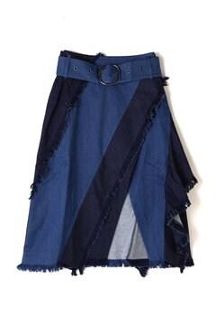 2トーンフレアラップデニムスカート