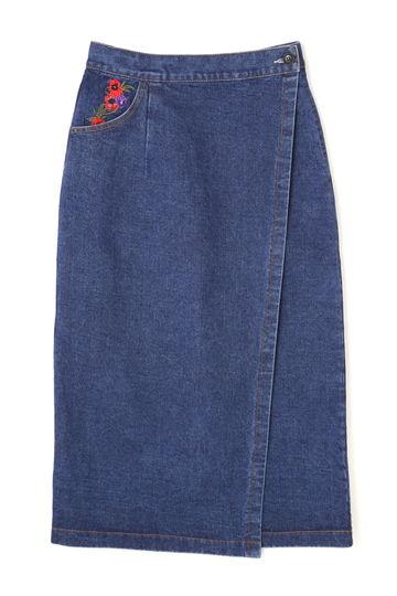 刺繍デニムラップスカート