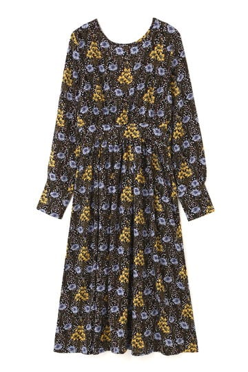 ボタニカルフラワープリントドレス