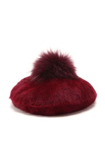 ポンポンファー付きベレー帽