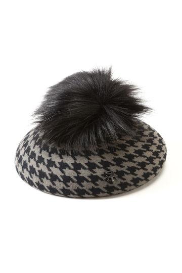 千鳥格子柄ベレー帽
