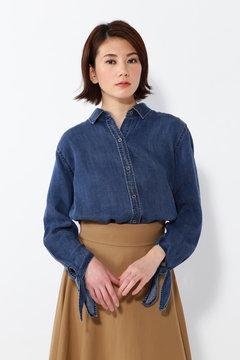 袖リボンデニムシャツ