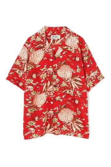 パイナップルプリント開襟シャツ