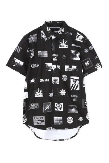 モノクロプリントシャツ