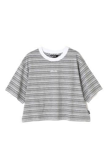 ショート丈マルチボーダーロゴTシャツ