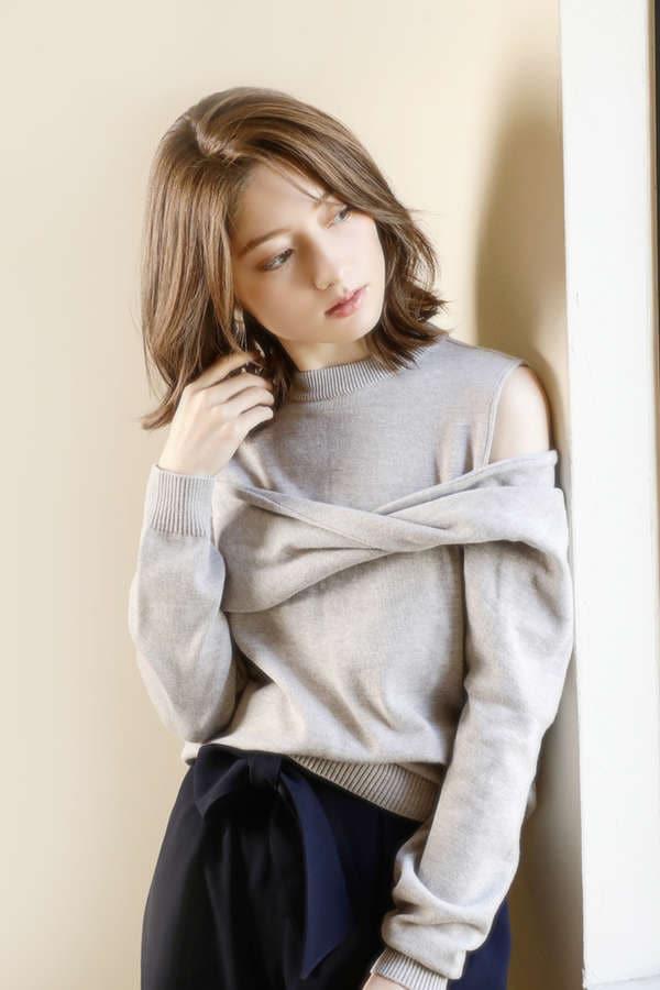 【ROSE BUD別注】【WEB限定】アシメトリーニット