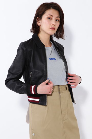 裾ボーダーレザージャケット