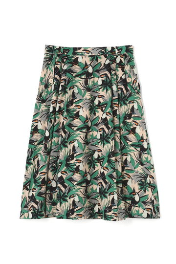 リーフ×オウム柄スカート