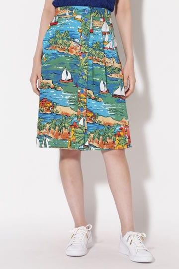 ヨット×アイランド柄スカート
