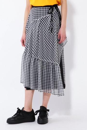 ギンガムチェックレイヤードスカート