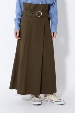 サッシュベルト付きハイウエストスカート
