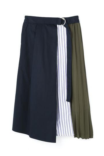プリーツ×ストライプシャツ 異素材ミックススカート