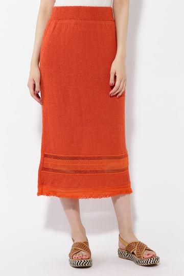 透かし柄編みタイトスカート