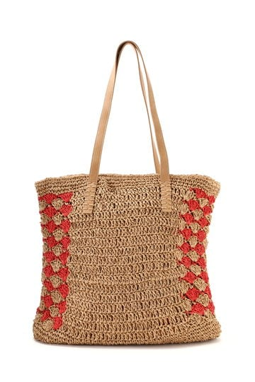 柄編み切替えかごトートバッグ