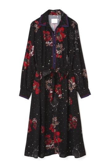フラワープリントシャツドレス