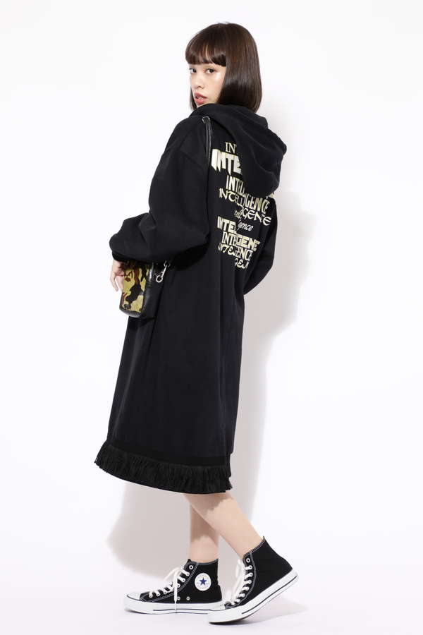 【ROSE BUD別注】バックプリントフーデッドロングジップドレス