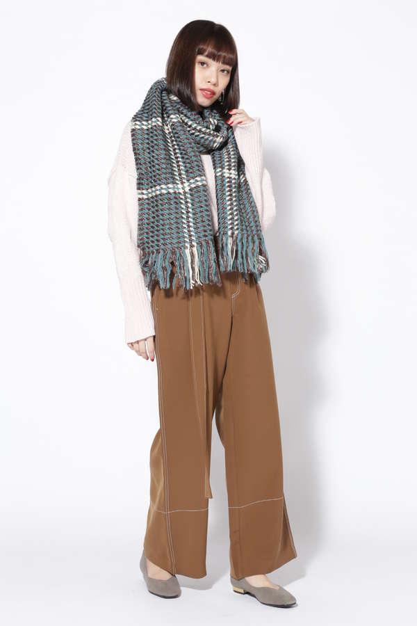 チェック柄編みマフラー