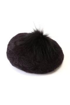 ポンポンファー付ベレー帽