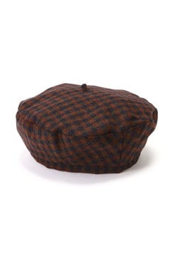 チェック柄ベレー帽
