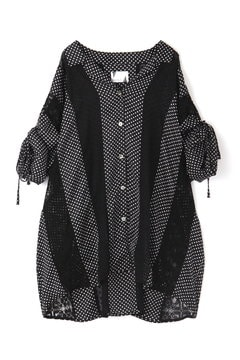 DOT & LACE OPEN COLLAR SHIRT