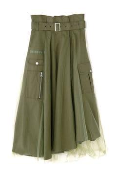 チュール×カモフラ柄スカート