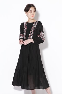 Cotton Voile Embroidery Back Ribbon Dress