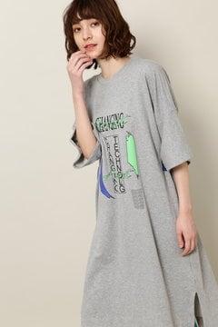 ロゴプリントミニ裏毛ワンピース