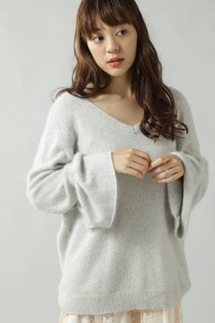 V NECK FLARE SLV KNIT