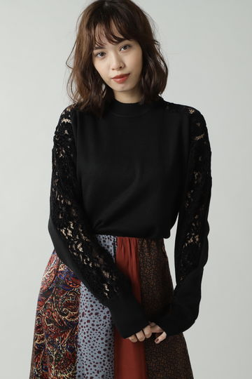 LACE HIGH NECK KNIT