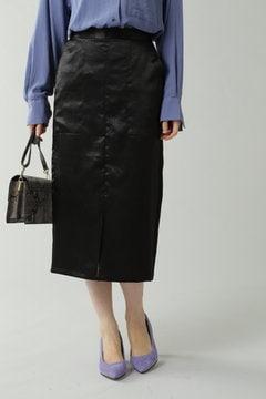 ミディ丈光沢スカート