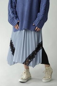 レース付イレヘムプリーツスカート