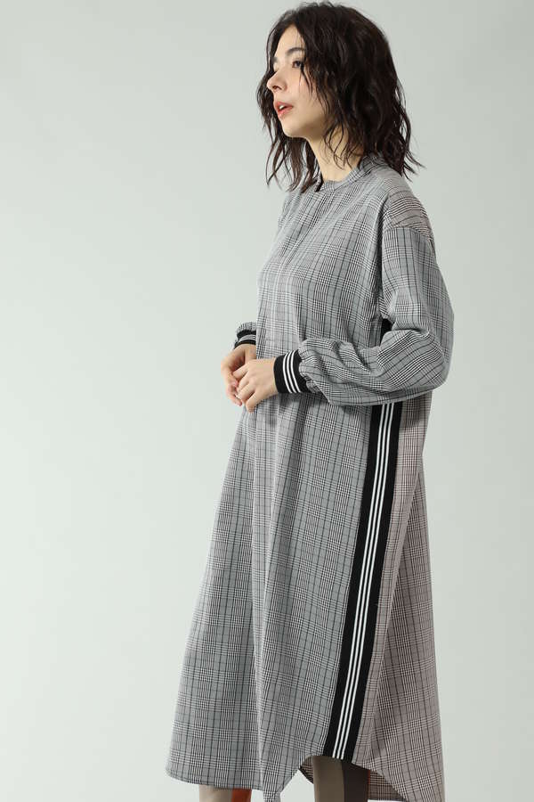 CHECK PULL OVER DRESS WITH LINE