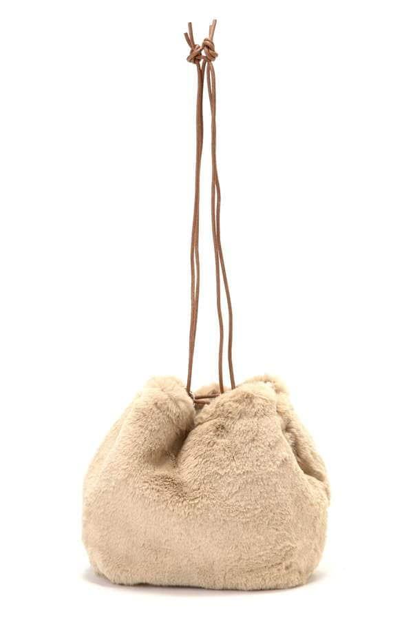 フェイクファー巾着ショルダーバッグ