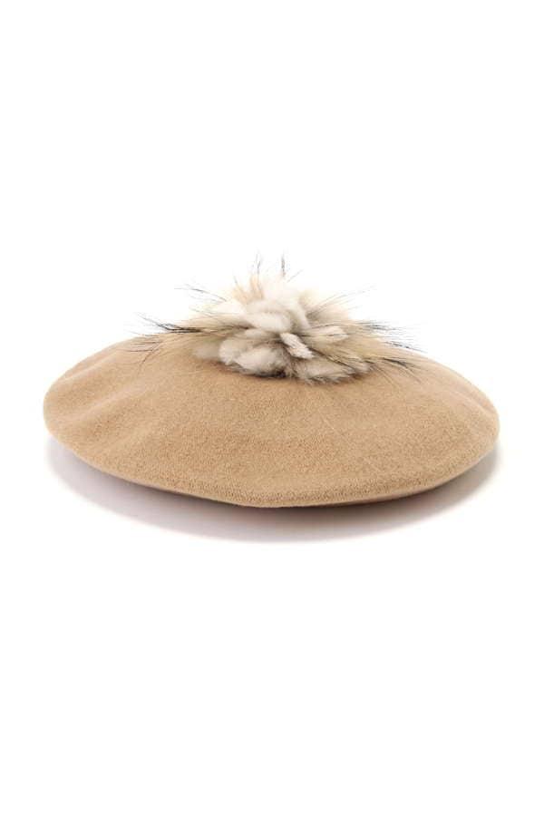 ファーポンポンベレー帽