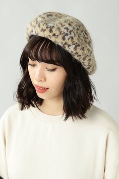 レオパード柄ベレー帽