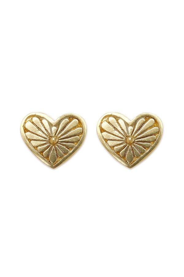 ボヘミアン ハートコンチョ ゴールド スタッズ ピアス Heart Concho Stud Earrings (Gold)