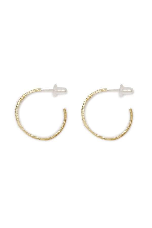 ボヘミアン 十字架 クロス ゴールド フープ ピアス Cross Hammerd Earrings (Gold)